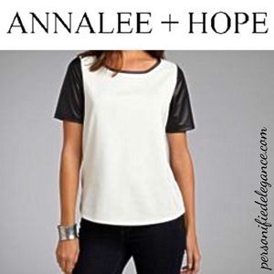Annalee & Hope Ivory/Black Faux Leather Sleeve Top